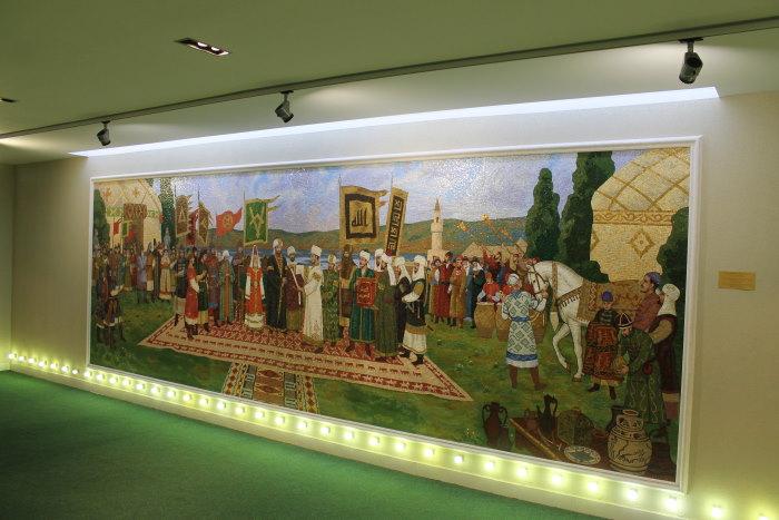 Мозаичное панно, повествующее о дне принятия ислама волжскими болгарами в качестве государственной религии в 922 году.