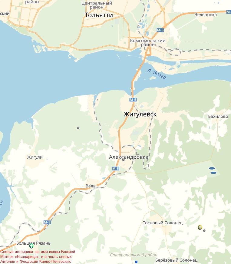 Святые источники в Большой Рязани на карте Самарской области