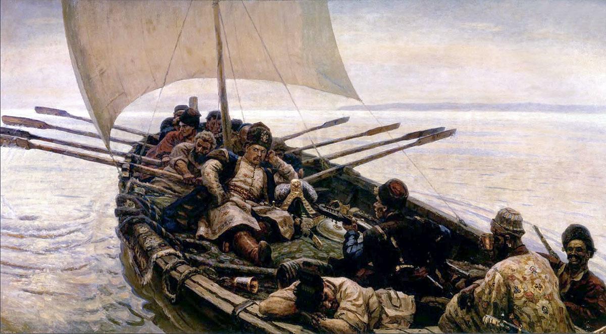 Степан Разин плывет по реке Волга с казаками