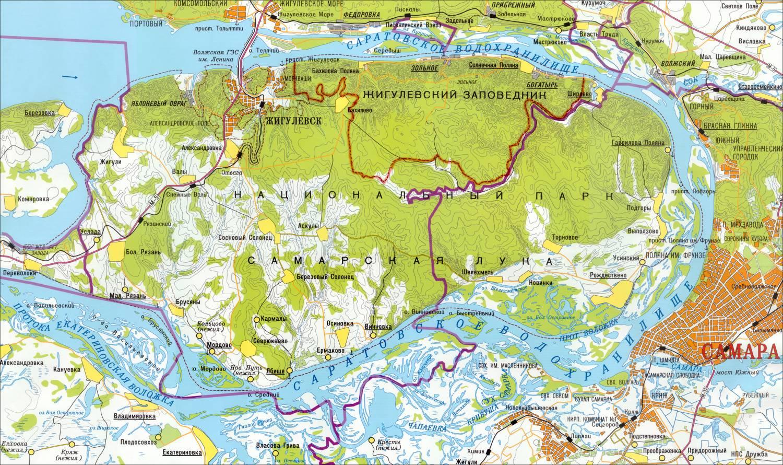 Жигулёвский государственный природный заповедник на карте Самарской Луки