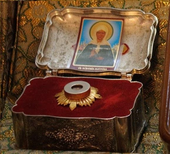Икона с частицей святых мощей Блаженной Матроны Московской