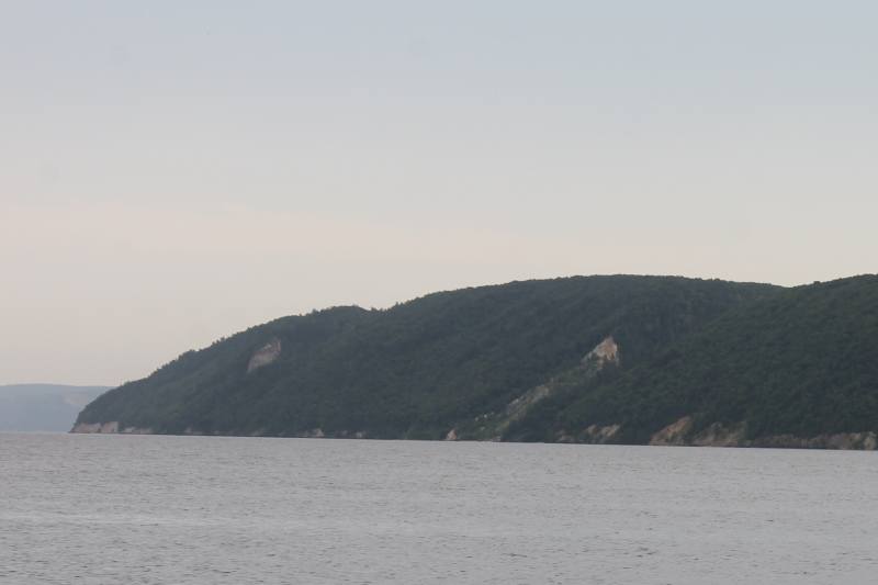 Вид на скалу Белый камень слева, а справа обнажение, вызванное осыпью горной породы